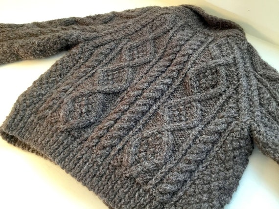 Vintage Child's Hand Knit Irish Aran Wool Cardiga… - image 7