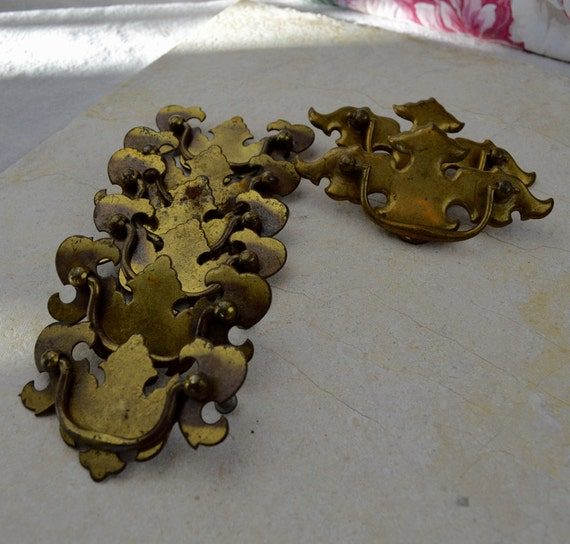 image 0 - Lot Of Antique Brass-plate Chippendale Drawer Drop Pulls Etsy