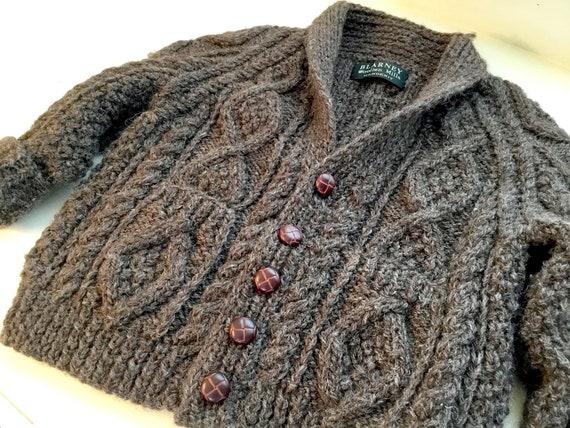 Vintage Child's Hand Knit Irish Aran Wool Cardigan