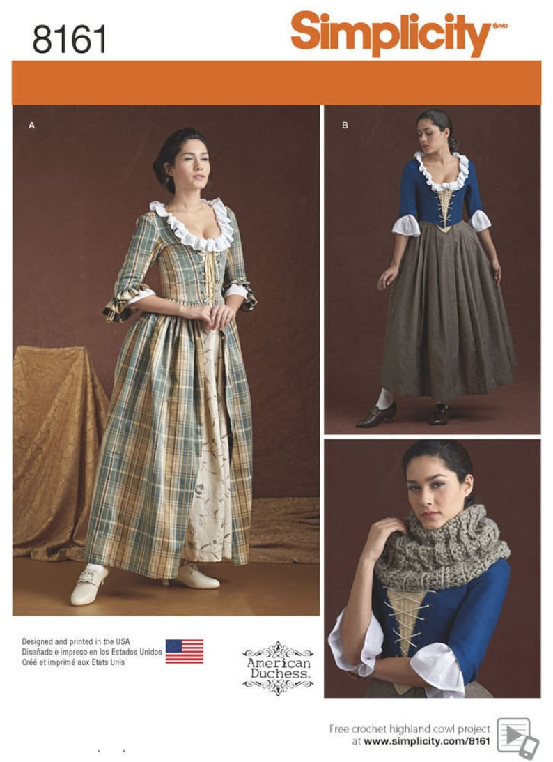 Scottish Highland /Outlander 18th Century Misses' Dress - Simplicity 8161