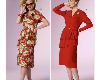 Butterick B6266 Misses' Tiered Peplum Dresses