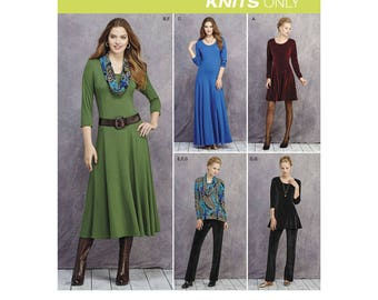 Simplicity 1018 Misses' and Petite Size Knit Dresses, Tunics, Pant & Cowl