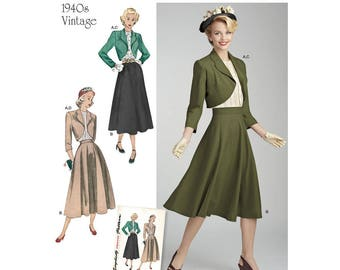 Simplicity 8462 Misses' Vintage Blouse, Skirt and Lined Bolero