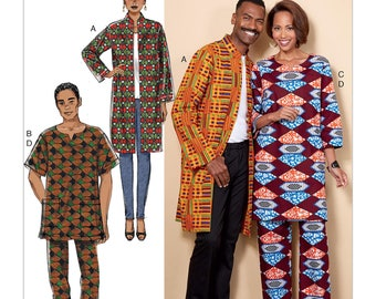 Butterick B6534 Misses'/Men's West African Influenced Coat, Tunic and Pants