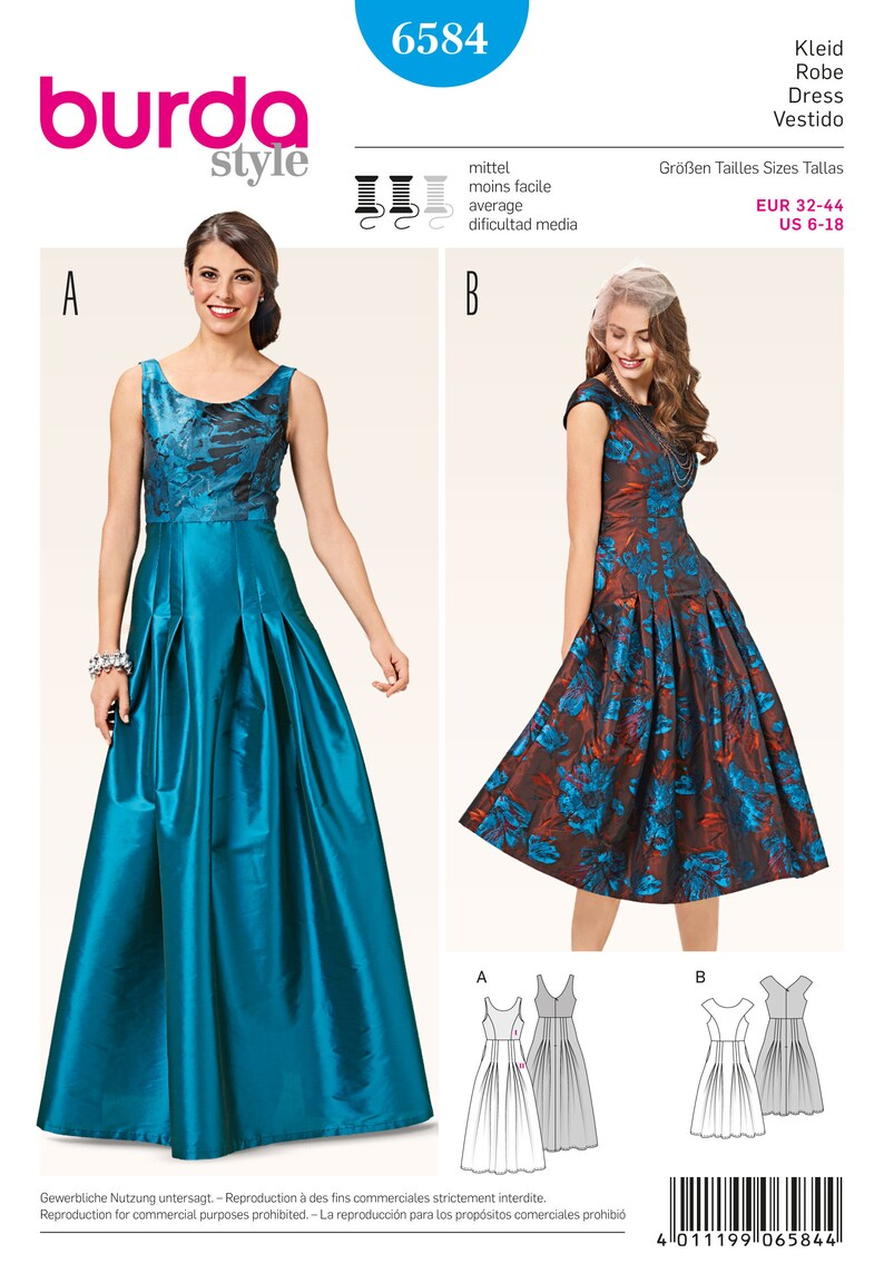 8034761e53 Misses Evening Dress with Pleated Skirt Burda Style 6584   Etsy