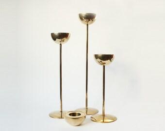 Vintage Brass Candlesticks - Lotta Horn for Rejmyre Sweden 1990s