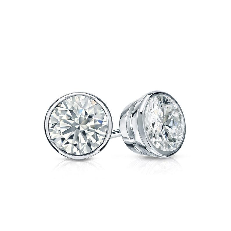 40272dc31c0 14k Gold Bezel Round Diamond Stud Earrings 0.62 ct. tw. (H-I, I1)