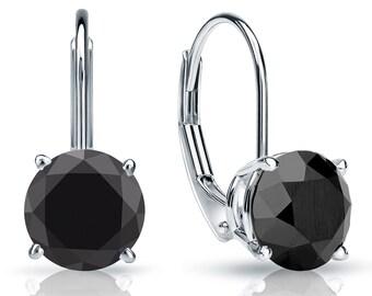 14k Gold Lever Back Round Black Diamond Stud Earrings 2.00 ct. tw