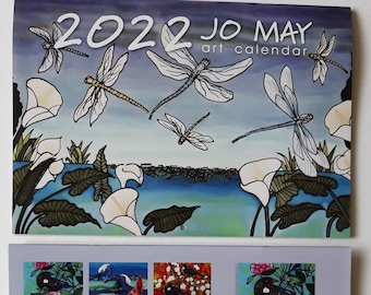 2022 Art Calendar with bright New Zealand art by Jo May, to fit into a4 envelope, 42cm x 30cm when open