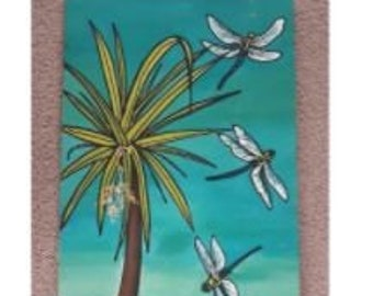 Original silk painting - Cabbage Tree, Dragonflies & Tuna,  New Zealand. 85cm x 30 cm approx. Hand painted on pure silk