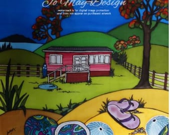 "Framed Original Silk Painting by Jo May "" Northland Summer"" New Zealand"