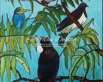 "Framed Original Silk Painting by Jo May "" Native Birds"" New Zealand"