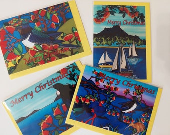 Christmas Cards 4 assorted designs in a 10 pack with beautiful bright New Zealand art by artist Jo May, 15cm x 10.5cm frontage
