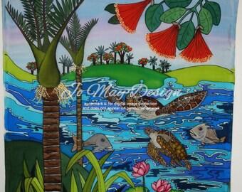Original silk painting - Huia Bird,  New Zealand. 85cm x 85 cm approx. Handpainted on pure silk