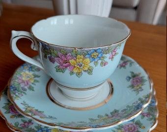 Colclough trio tea set. Made In England bone china. Blue floral.