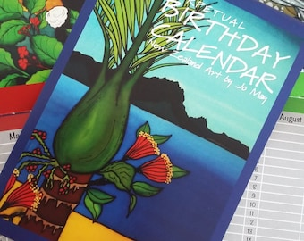 Large Birthday Calendar with beautiful bright New Zealand art by artist Jo May, 15cmx42cm open, 15cmx21 cm closed, perpetual for any year, .