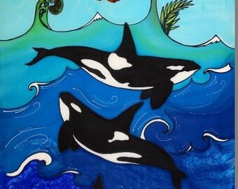 "Outdoor garden art on aluminium by New Zealand artist Jo May ""New Zealand Orca"" #2110  XL 80cm x 54 cm"
