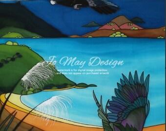 "Framed Original Silk Painting by Jo May "" Kereru, Matauri Bay"" New Zealand"