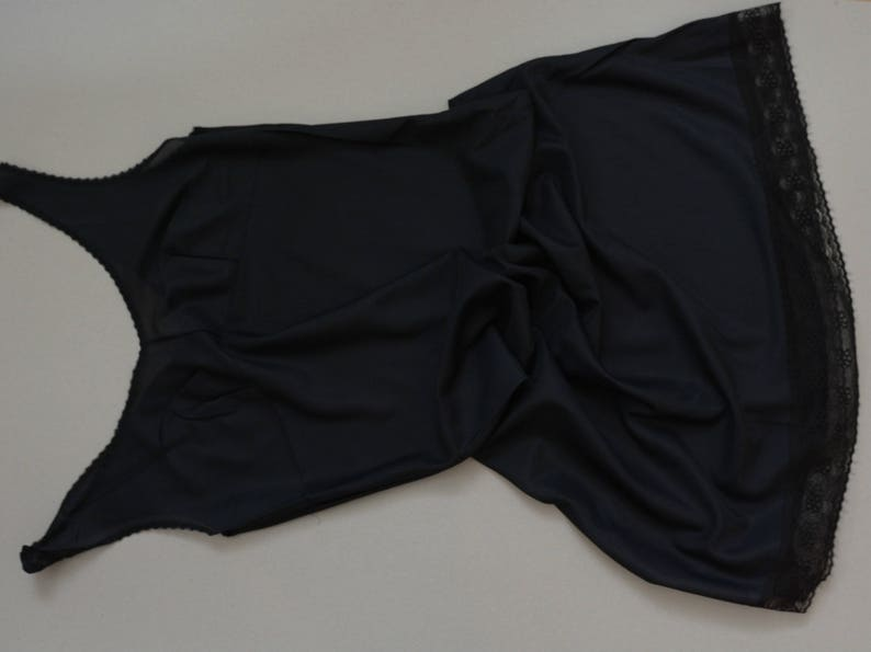 Black lace camisole Valentine gift Soviet lingerie Black Slip dress Lace nighties
