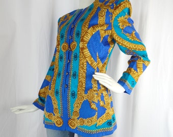 b6e85b9ef88 90s ADRIANNA PAPELL New York baroque silk jacket/ jacquard woven/ azure  turquoise +gold VERSACE style: size US12- fits 8-10