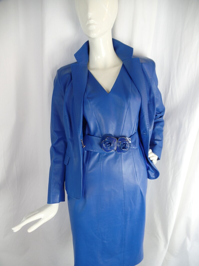 97ed8c47 RARE vintage VERSACE matching glove leather dress +jacket/ cobalt blue/ 2  rosettes/Versace button closure: size 6/8 US woman