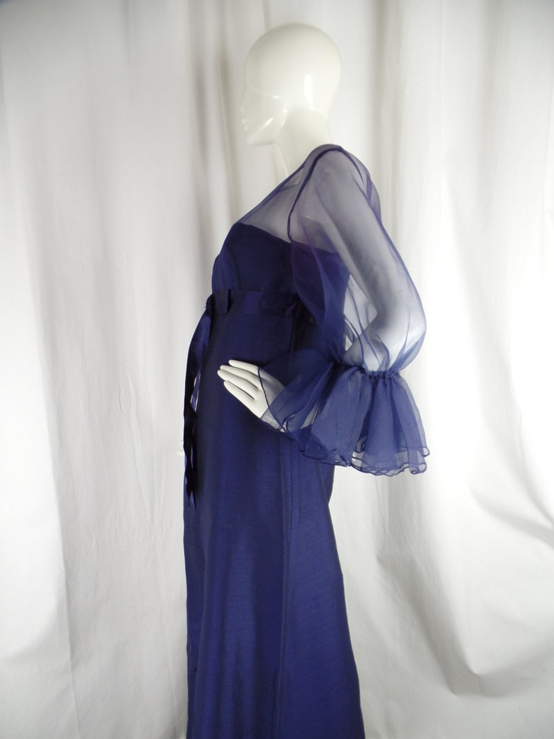 vintage size 14= US8 rare 1960s JEAN VARON midnight blue evening gown sheer chiffon upper made in the UK