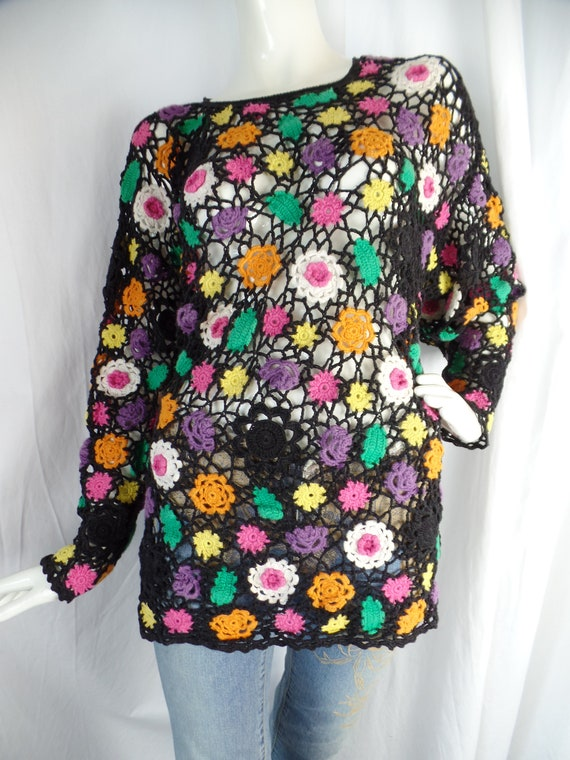 crazy daisy crochet tunic BOHO sweater