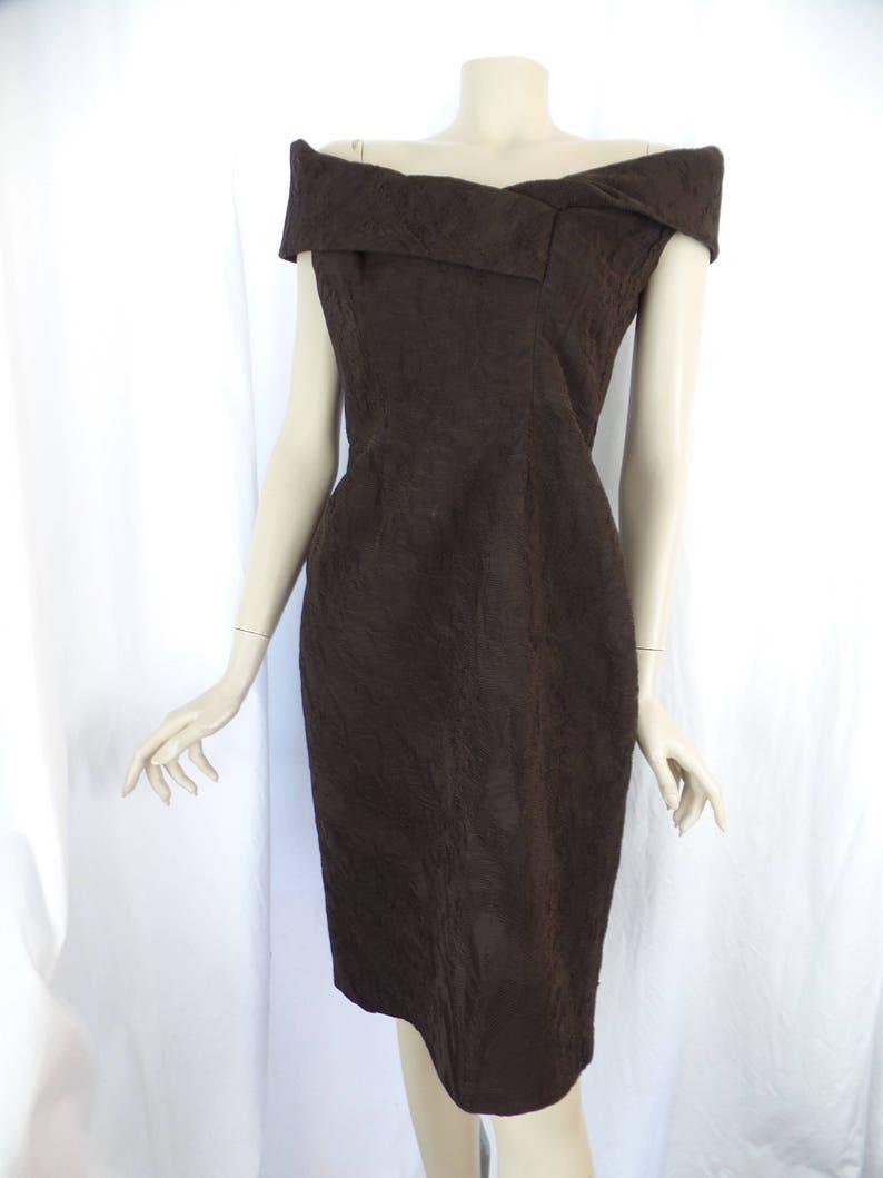 e56b380b65f8b1 Vintage CATHERINE REGEHR off the shoulder sheath dress/ripple | Etsy