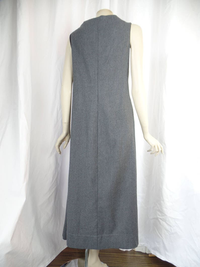 early Gary GRAHAM smocked and torn raw edge grey wool dress/ sleeveless/  named and dated : US 6