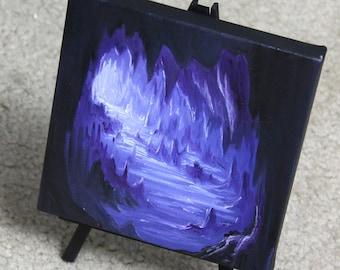 "6x6"" Mini Painting, Original Oil Painting - Landscape Cave Wall Art"