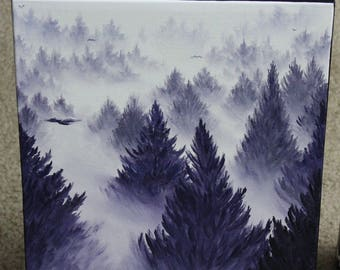 """10x10"""" Original Oil Painting - Foggy Forest Wall Art"""