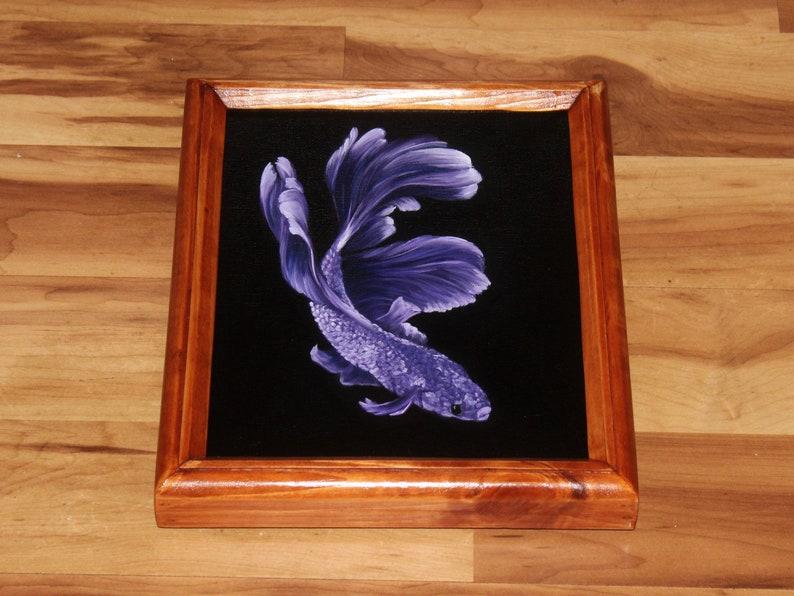 8x10 Original Oil Painting  Purple White Beta Fish  image 1