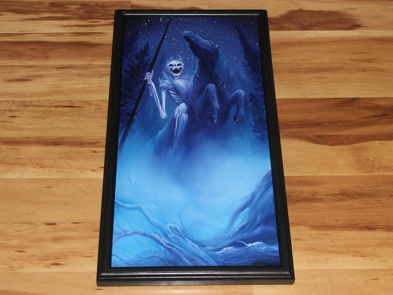 12x24 Original Oil Painting  Ghostly Skeleton Horse Framed