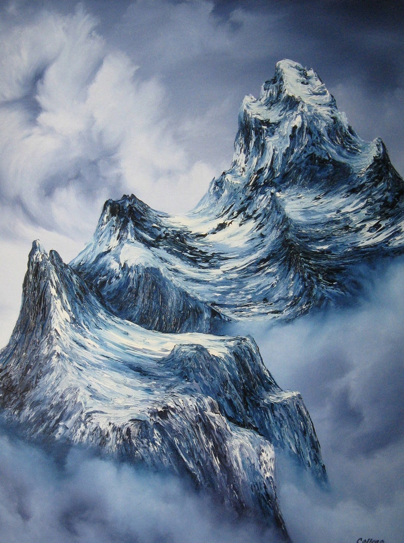 18x24 Original Oil Painting  Snowy Rocky Mountains image 0