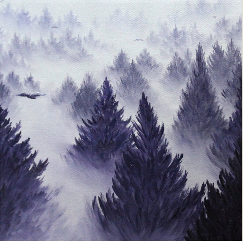 10x10 Original Oil Painting  Foggy Forest Wall Art image 0