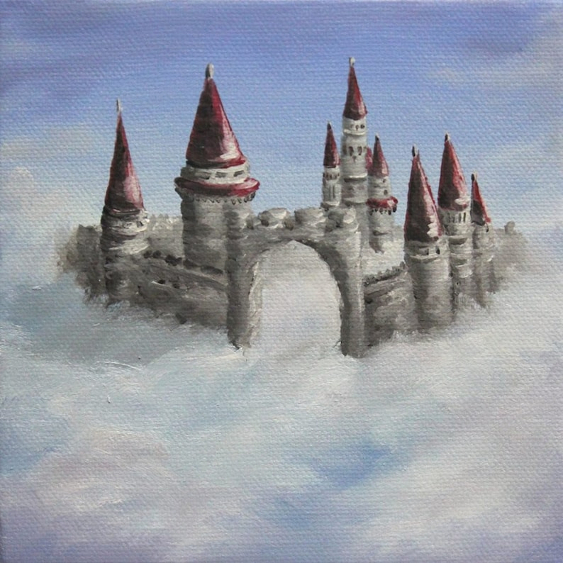 6x6 Mini Painting Original Oil Painting  Castle in the image 0