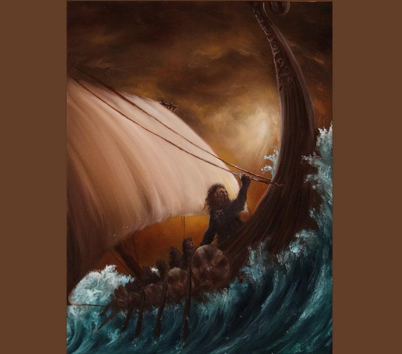 12x16 Original Oil Painting  Viking Longboat Dwarves image 0