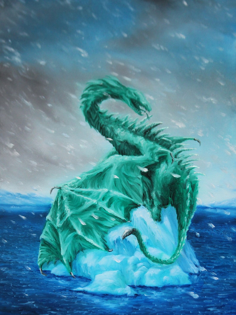 12x16 Original Oil Painting  Coolbreeze Snowy Emerald image 0