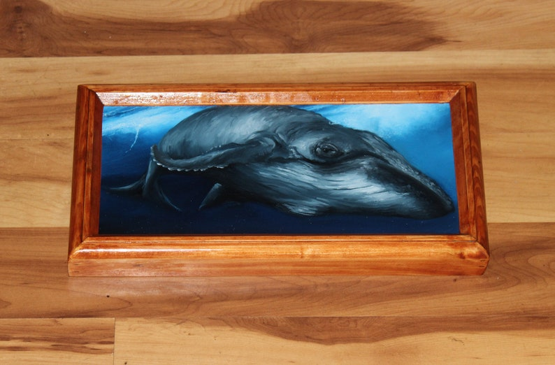 6x12 Original Oil Painting  Blue Gray Humpback Whale Framed
