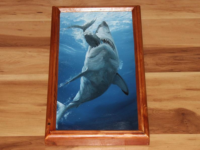 8x16 Original Oil Painting  Blue Gray Shark Eating Fish image 1