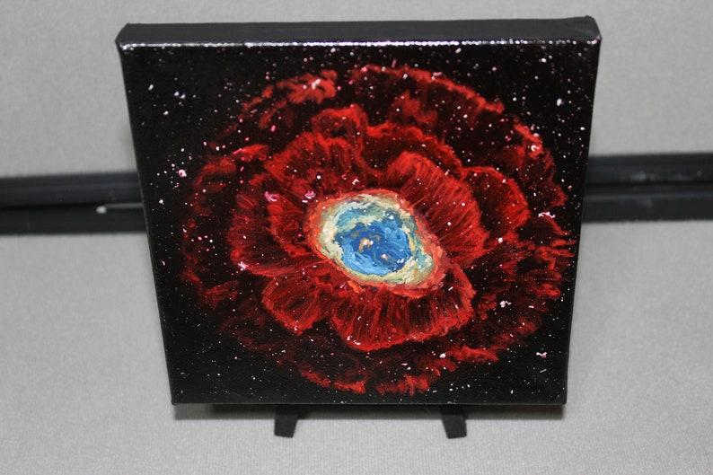 6x6 Mini Original Oil Painting  Ring Nebula Stars image 0