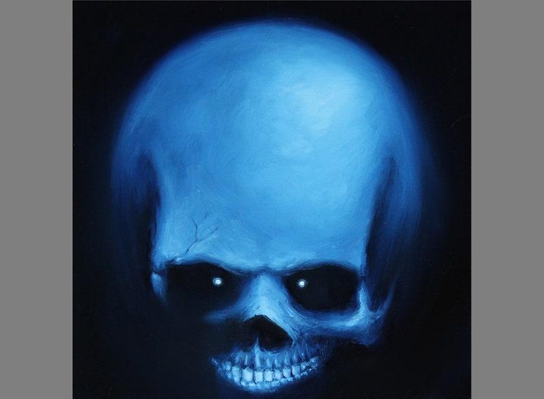 10x10 Original Oil Painting  Creepy Spooky Blue Black image 0