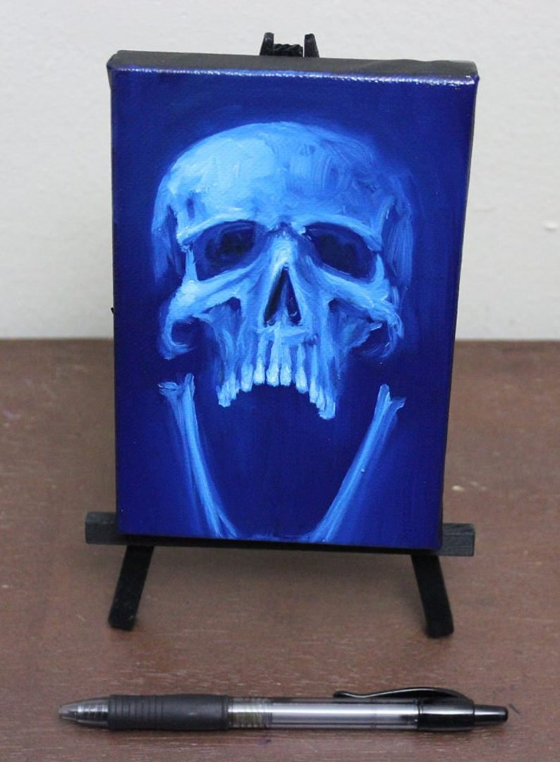 4x6 Original Oil Painting  Human Skull Painting   Neon image 0