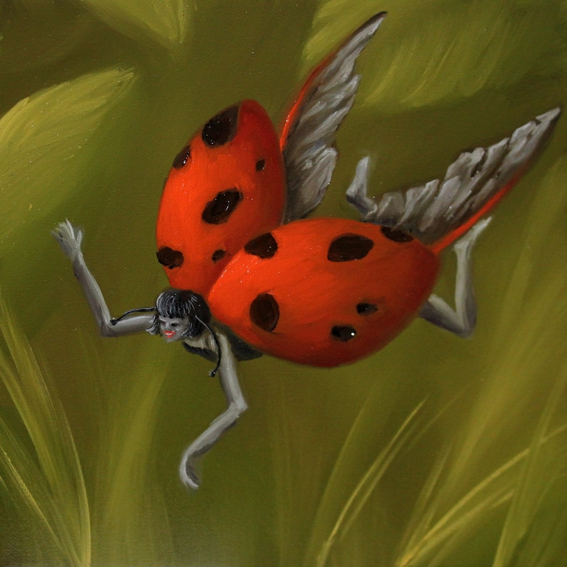 10x10 Original Oil Painting  Ladybug Fairy Faerie Fae image 0