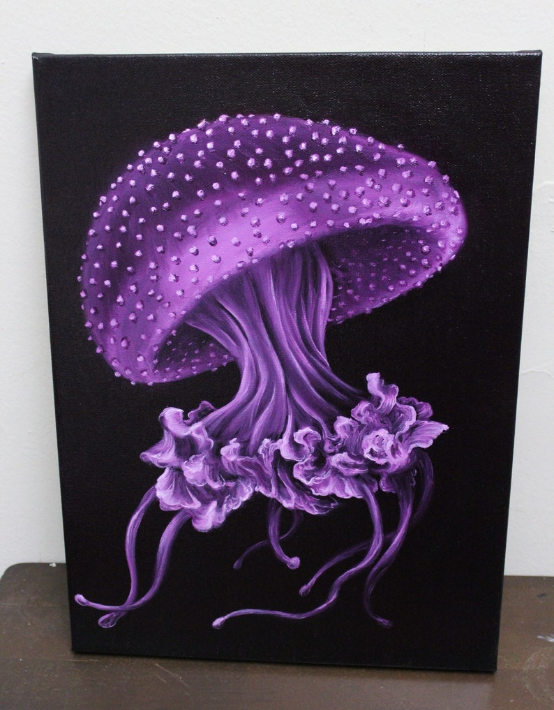 12x16 Original Oil Painting  Spotted Jellyfish image 0