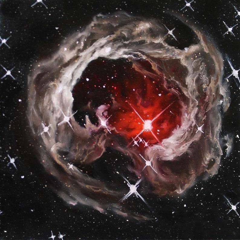 10x10 Original Oil Painting  V838 Monocerotis Nebula image 0