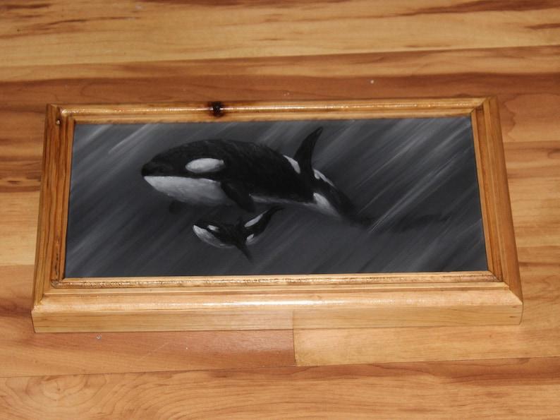 6x12 Original Oil Painting  Black White Gray Killer image 1