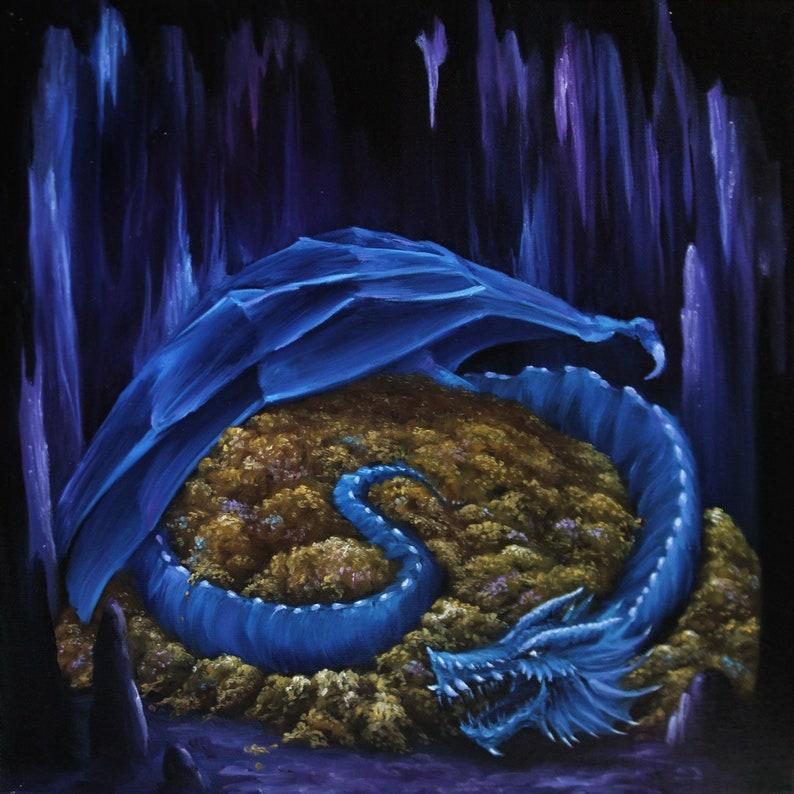 12x12 Original Oil Painting  Blue Dragon's Horde image 0