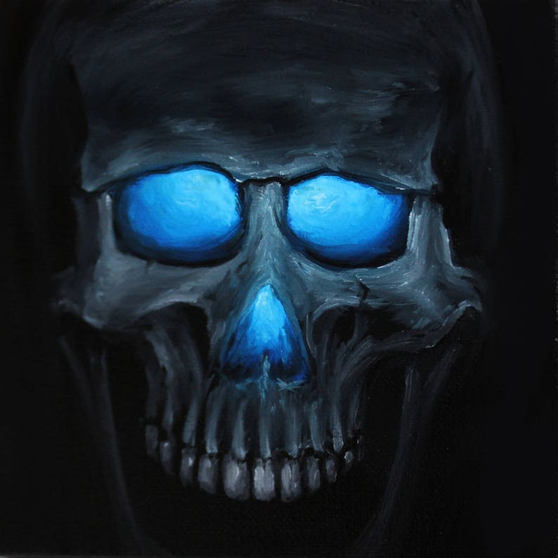6x6 Original Oil Painting  Glowing Eyes Glow Mini Skull image 0