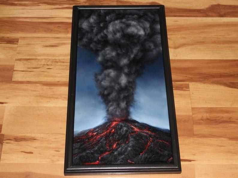 12x24 Original Oil Painting  Mountain Volcano Eruption Framed